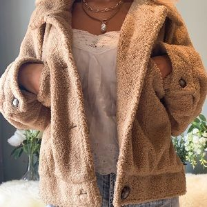 light brown cropped teddy jacket
